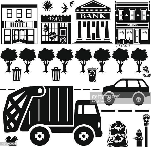 urban street design elements - parking meter stock illustrations