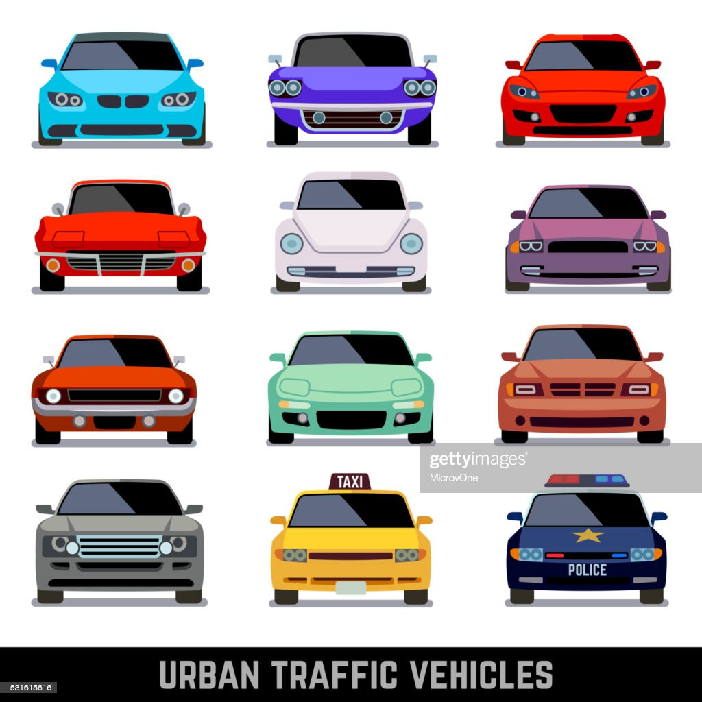 Urban traffic vehicles, car icons in flat style