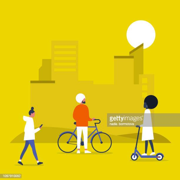Urban transportation, bikes and electric scooters. Park. Outdoor. Young people walking and riding vehicles. Flat editable vector illustration, clip art