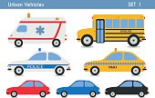 Urban vehicles: cars, ambulance, taxi, school bus and police car
