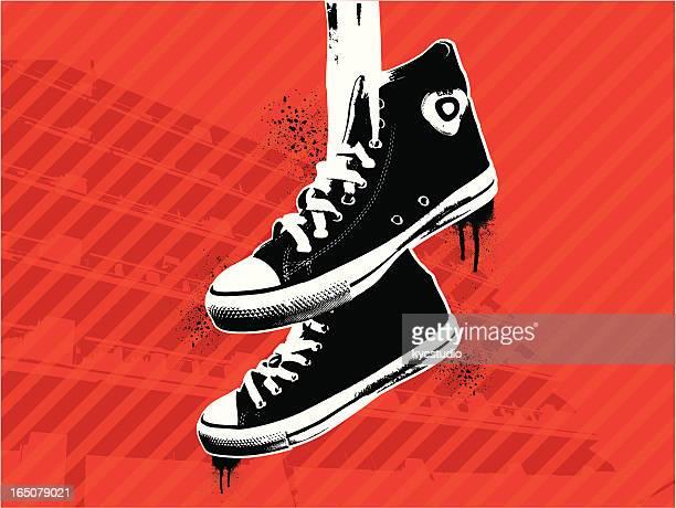 urban walk - sports shoe stock illustrations