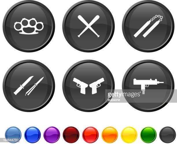 ilustraciones, imágenes clip art, dibujos animados e iconos de stock de urban armas conjunto de iconos vectoriales sin royalties - submachine gun