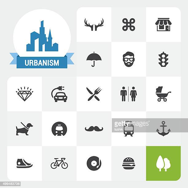 Urbanism base vector icons and label