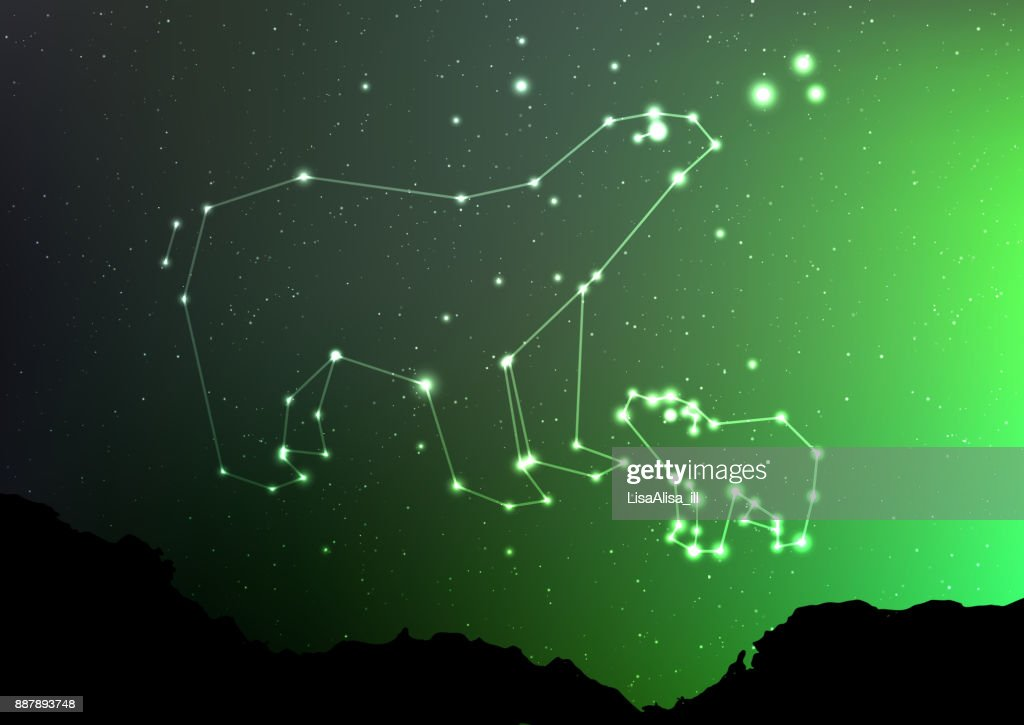 Ursa Minor and Major on nigt sky with forest landscape. Bear in shiny constellation and star poligon in northern hemisphere with Northern Lights. Starry minor and major Ursa