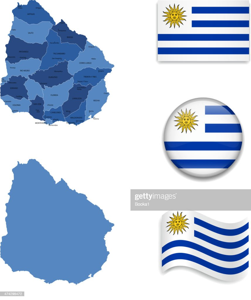 Uruguay Map and Flag Collection