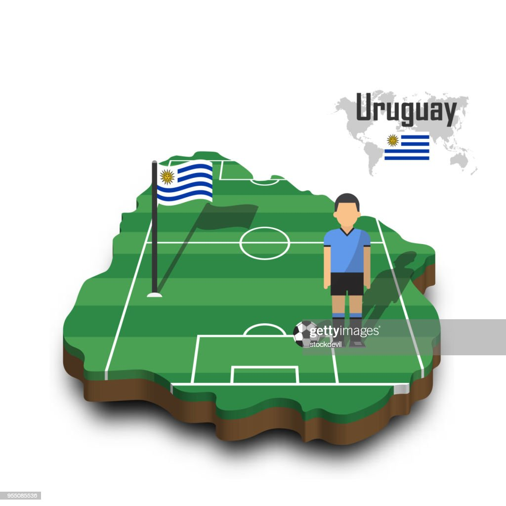 Uruguay national soccer team . Football player and flag on 3d design country map