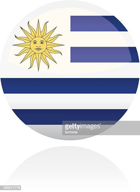 uruguay, south american flag button - latin american culture stock illustrations, clip art, cartoons, & icons