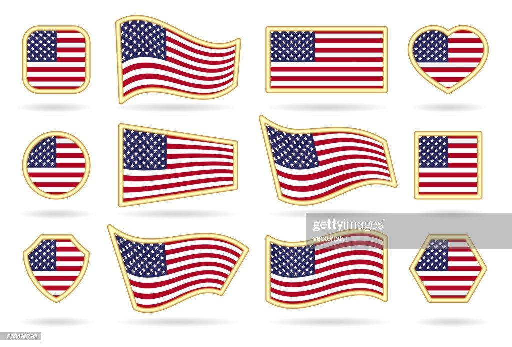 Usa flag badges set