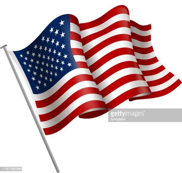 usa flag sign - pole stock illustrations