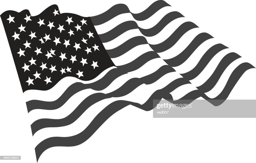 usa grayscale flag icon