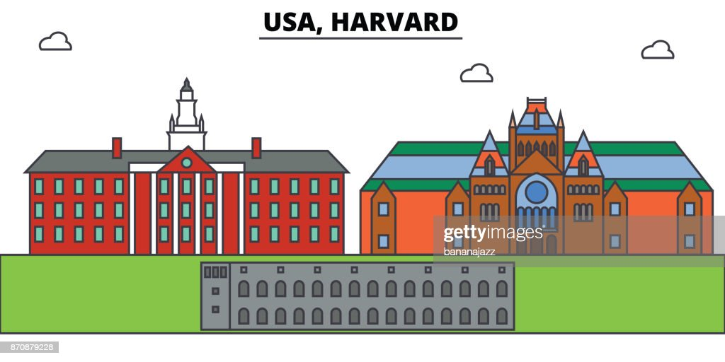 Usa, Harvard outline skyline, american flat thin line icons, landmarks, illustrations. Usa, Harvard cityscape, american travel city vector banner. Urban silhouette