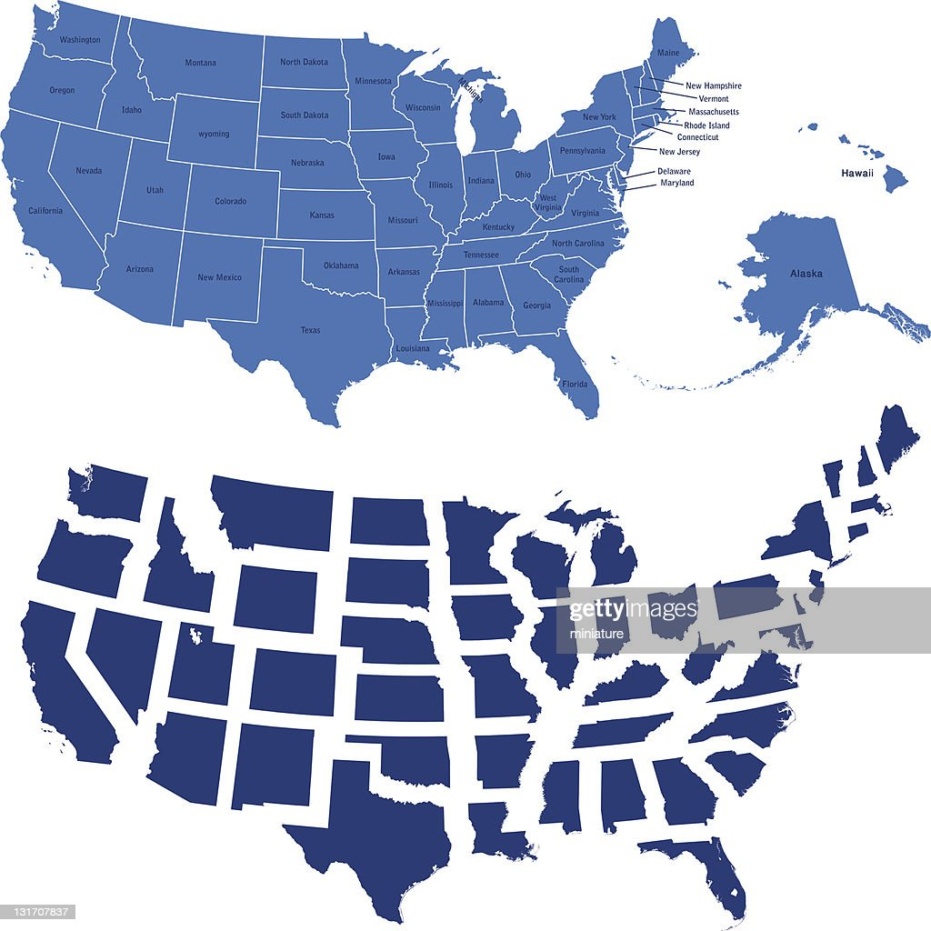 usa map and all states : stock illustration