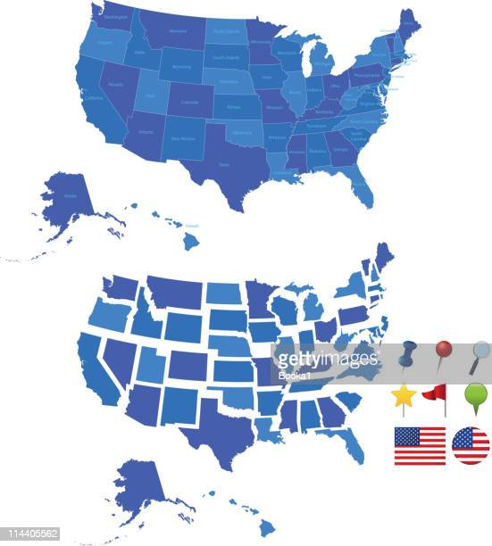 usa map - new mexico stock illustrations