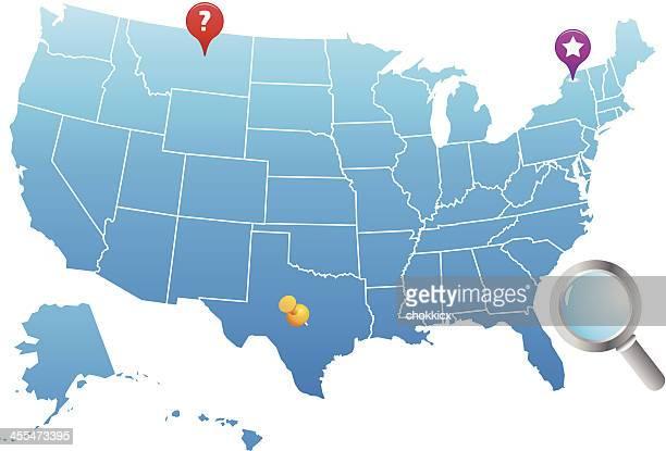 usa map - thumbtack stock illustrations, clip art, cartoons, & icons