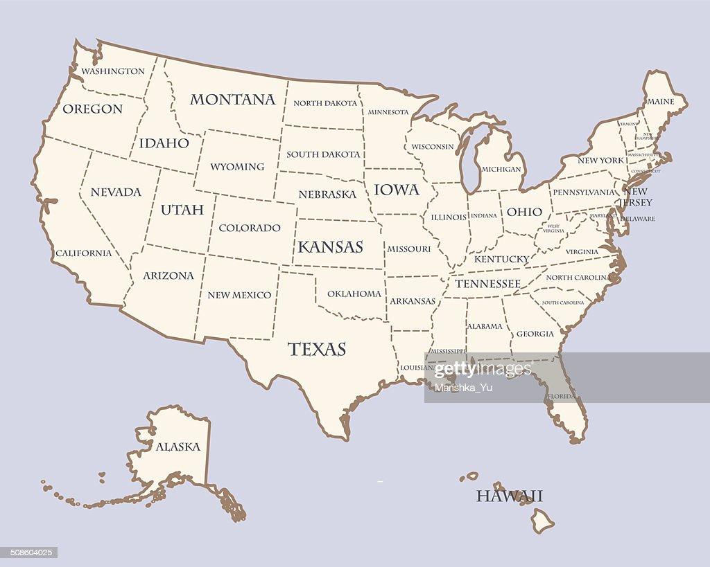 Mapa de Estados Unidos con los nombres de los Estados : Arte vectorial