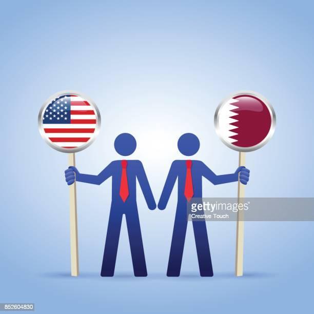 ilustrações, clipart, desenhos animados e ícones de eua-qatar - qatar