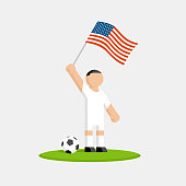 Usa soccer player in kit with flag and ball