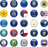 Usa State Button Flag Collection-Part 2