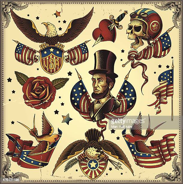 usa tattoo flash - us military emblems stock illustrations
