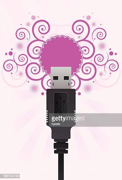 ilustrações, clipart, desenhos animados e ícones de cabo usb com levantamento de cor-de-rosa padrão. - usb cable