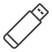 Usb flash drive line icon, web and mobile, memory