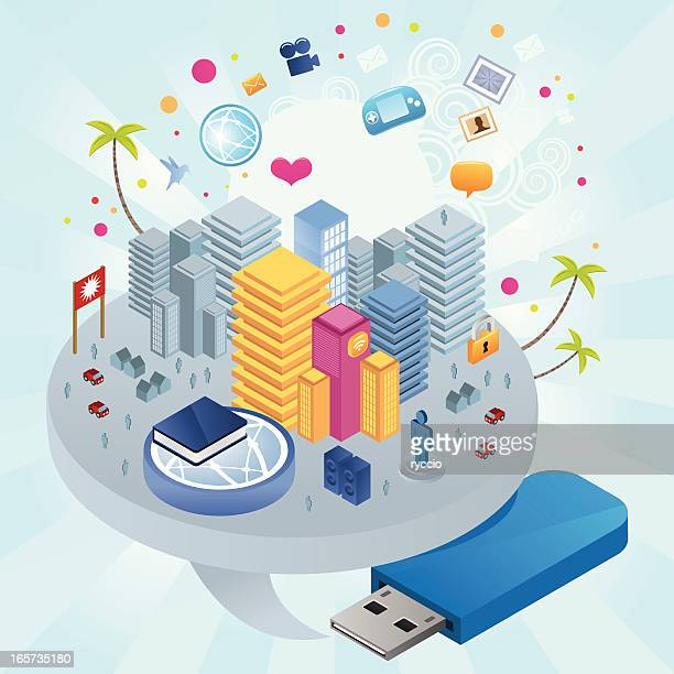 usb pen city with skyscrapers and icons - usb stick stock illustrations, clip art, cartoons, & icons
