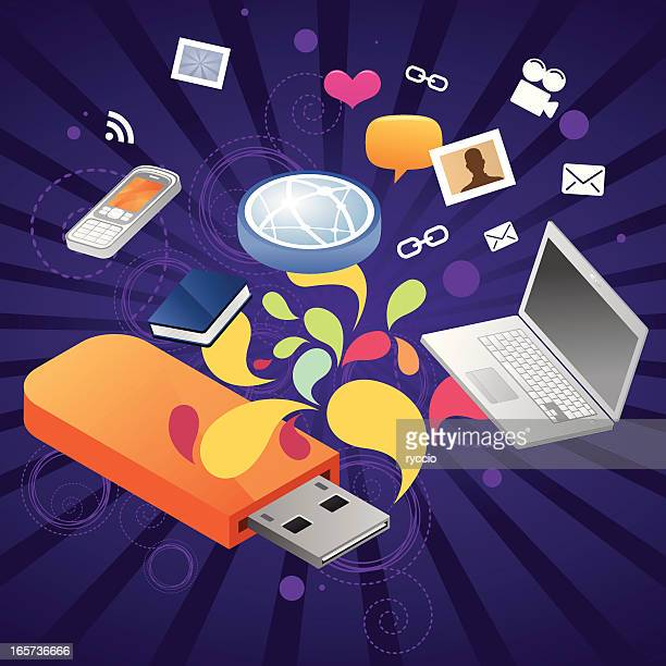 usb storage device with your files coming out - usb stick stock illustrations, clip art, cartoons, & icons
