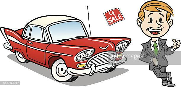 used car and dealer - car salesperson stock illustrations, clip art, cartoons, & icons