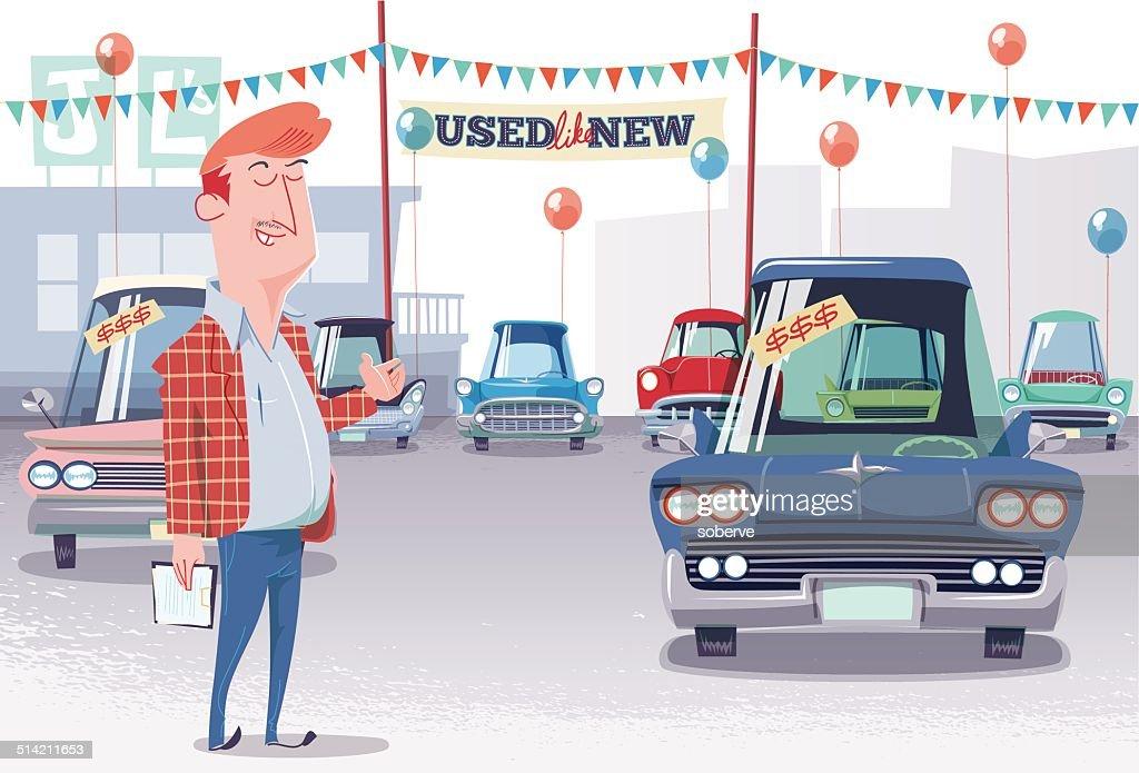 Used Car Lot Salesman : Stock Illustration