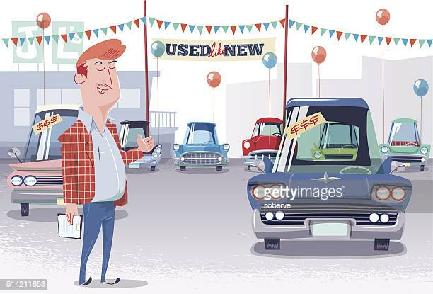 used car lot salesman - car salesperson stock illustrations, clip art, cartoons, & icons