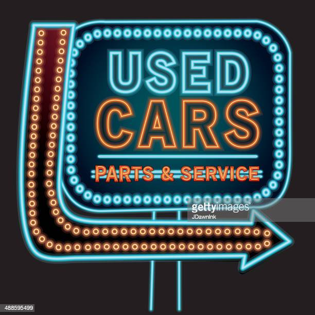 used cars parts and service neon sign - showroom stock illustrations, clip art, cartoons, & icons