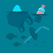 Used plastic bag, bottle and soft drink container straw floating on a calm ocean polluting the aquatic environment. Vector flat illustration.