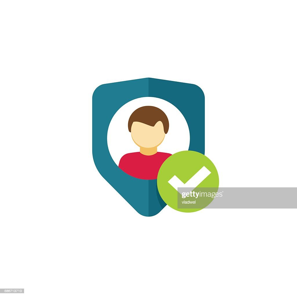 User authentication icon vector, privacy emblem, personal protection security