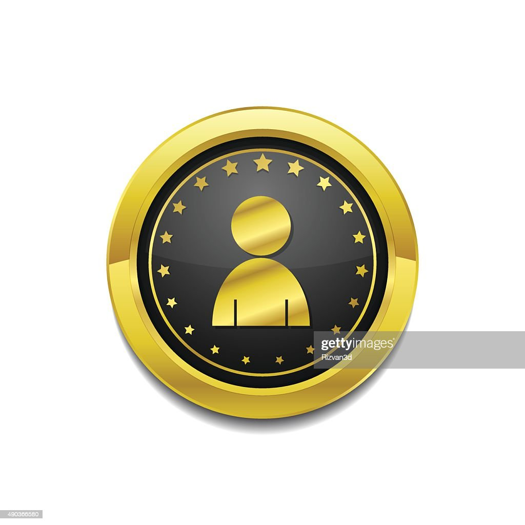 User Circular Vector Gold Web Icon Button