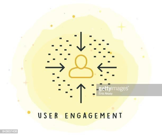 User-Engagement-Symbol mit Aquarell-Patch