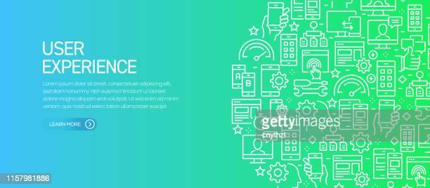 ライン アイコンを使用したユーザー エクスペリエンス バナー テンプレート。広告、ヘッダー、ウェブサイトのための現代ベクトルイラスト。 - ワイヤーフレーム作成点のイラスト素材/クリップアート素材/マンガ素材/アイコン素材