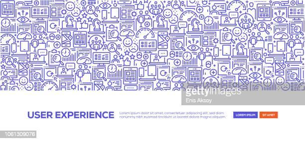 benutzer-erfahrung-banner - fokusgruppe stock-grafiken, -clipart, -cartoons und -symbole