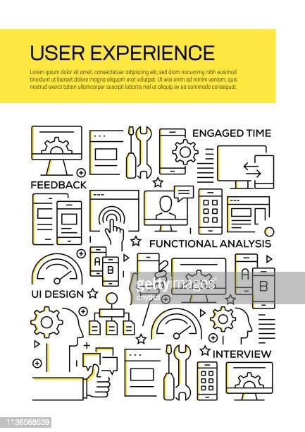 年次報告書、チラシ、パンフレットのためのユーザー体験コンセプトラインスタイルカバーデザイン。 - ワイヤーフレーム作成点のイラスト素材/クリップアート素材/マンガ素材/アイコン素材