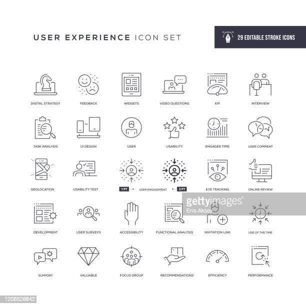 user experience editable stroke line icons - using phone stock illustrations