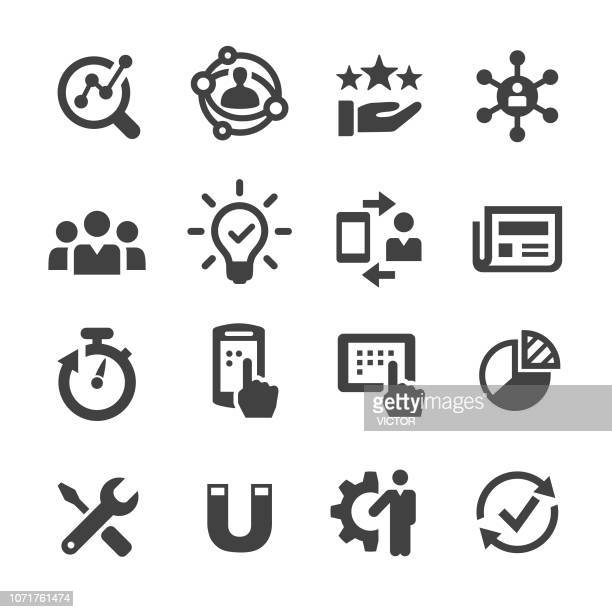 user experience icon - acme series - analysing stock illustrations
