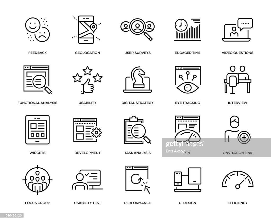 Jeu d'icônes expérience utilisateur : Illustration