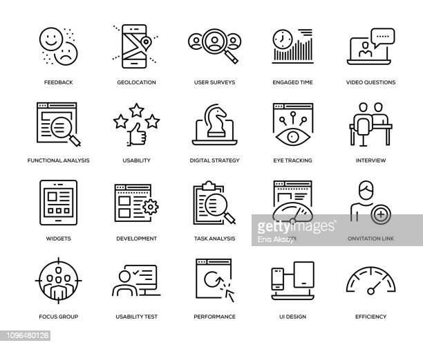 user experience icon set - business strategy stock illustrations