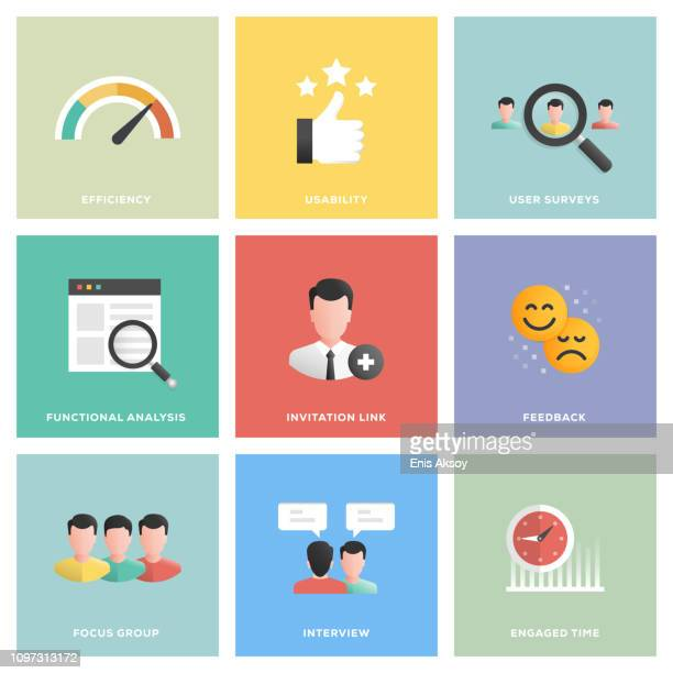 stockillustraties, clipart, cartoons en iconen met gebruiker ervaring icon set - effectiviteit
