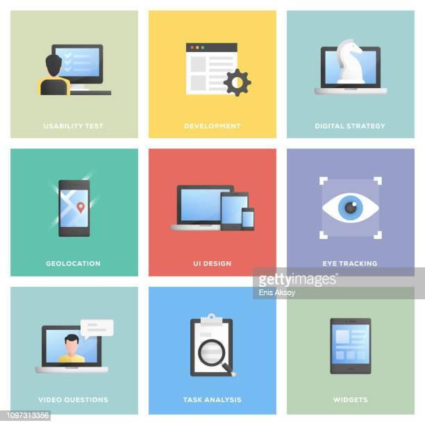 benutzer-erfahrung-icon-set - programmierer stock-grafiken, -clipart, -cartoons und -symbole