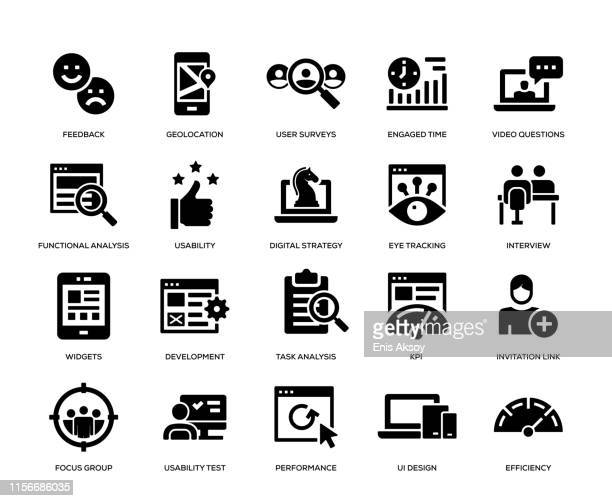 user experience icon set - fokusgruppe stock-grafiken, -clipart, -cartoons und -symbole