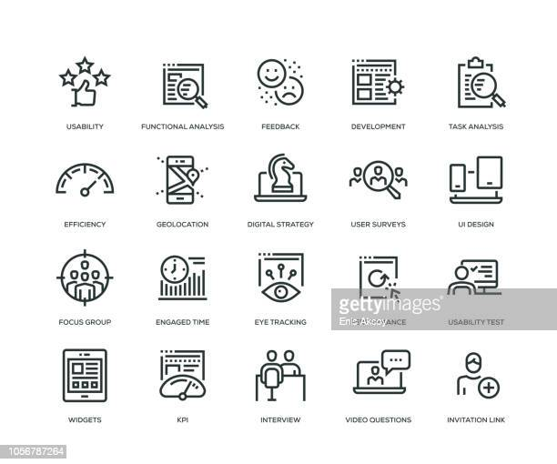 user experience icons - line series - surveillance stock illustrations