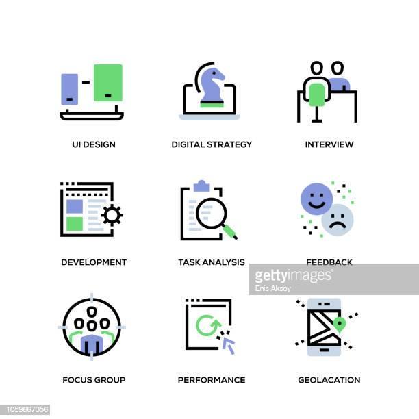 benutzer-erfahrung-linie-icon-set - fokusgruppe stock-grafiken, -clipart, -cartoons und -symbole