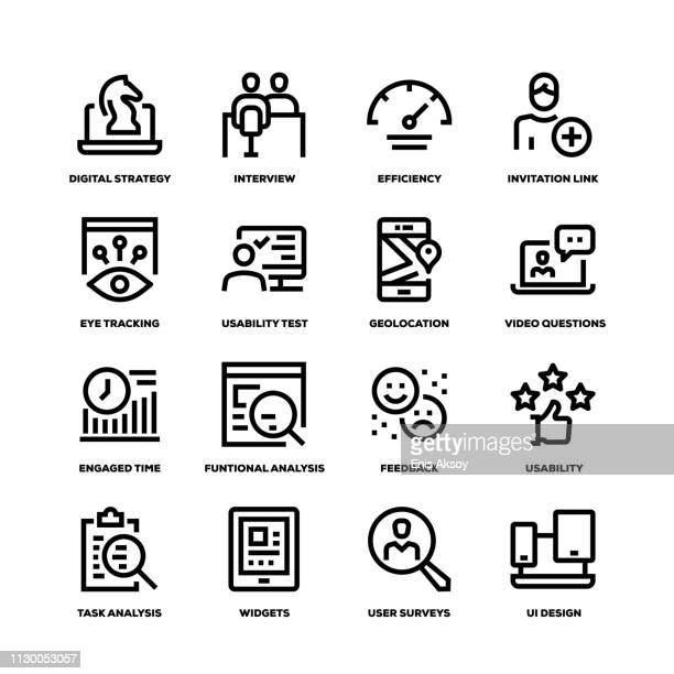 user experience line icons - convenience stock illustrations