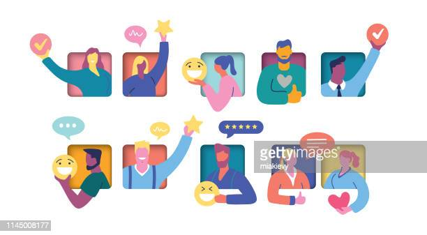 illustrazioni stock, clip art, cartoni animati e icone di tendenza di user feedback concept - social network