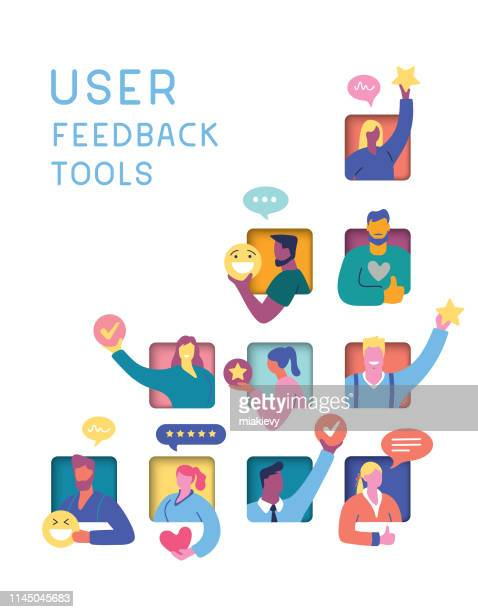 user feedback tools concept - satisfaction stock illustrations